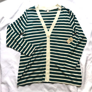 Coldwater Creek Green and Cream Striped Cardigan